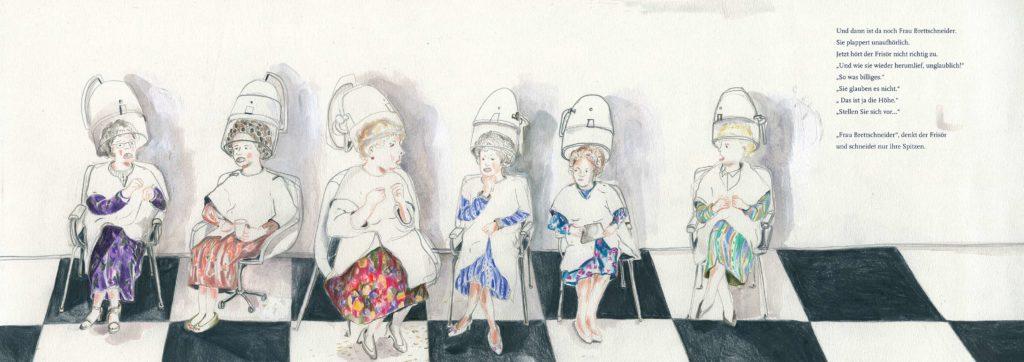 Ladies at the hairdresser Lena Personn Illustration