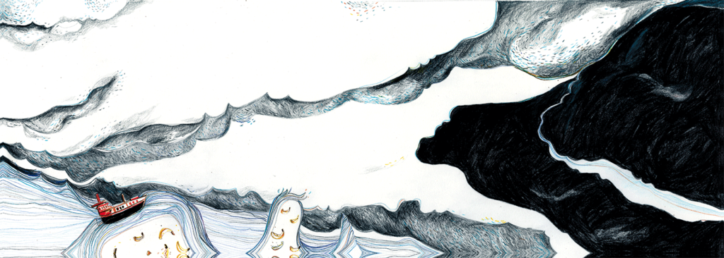 """Waves Illustration out of the Diploma-Bookproject """"Nur die Spitzen, bitte"""" Text and Illustration from Lena Personn"""